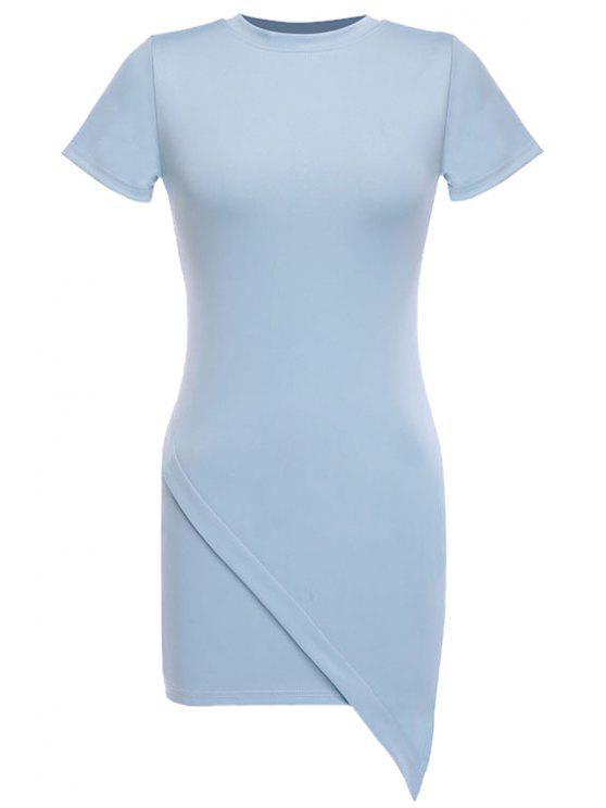 unique Blue Irregular Hem Short Sleeve Dress - BLUE S