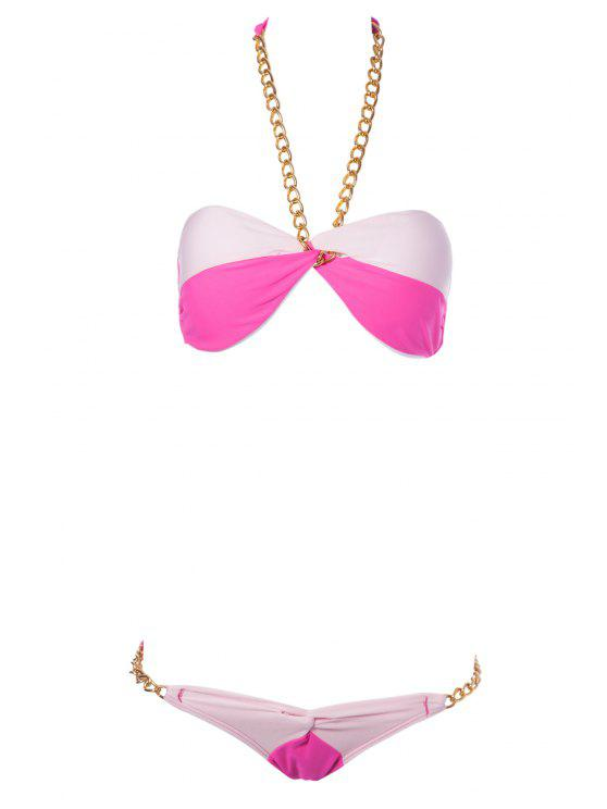 outfits Color Block Chain Bikini Set - PLUM L