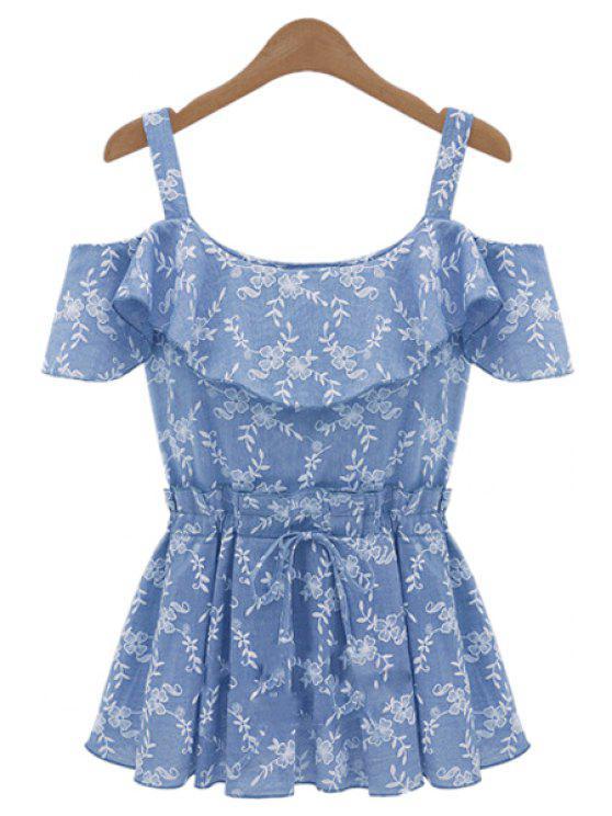 fashion Print Straps Off-The-Shoulder Blouse - BLUE S