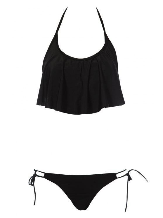 trendy Solid Color Ruffles Bikini Set - BLACK S