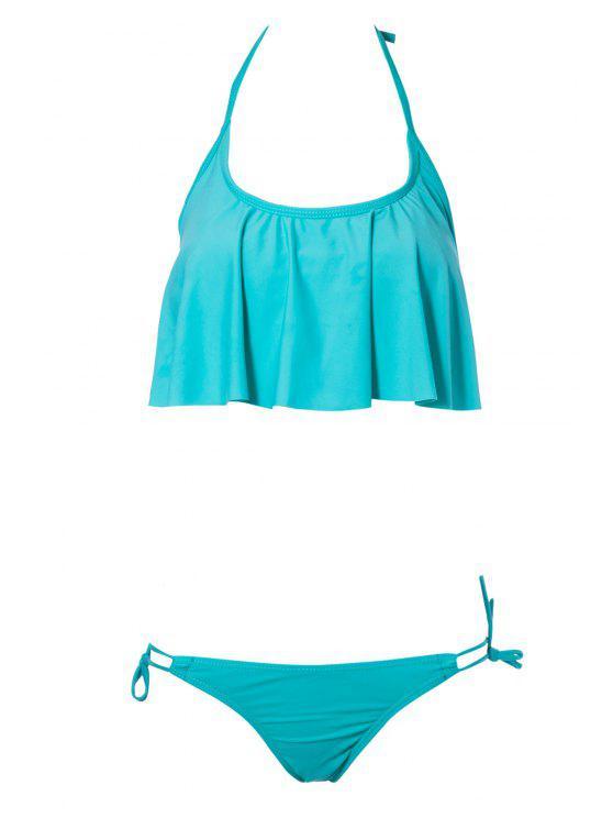 affordable Solid Color Ruffles Bikini Set - GREEN L