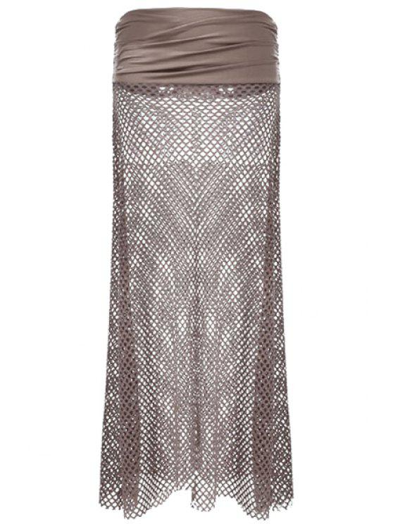 shops Mesh Design Solid Color Skirt - DEEP BROWN ONE SIZE(FIT SIZE XS TO M)