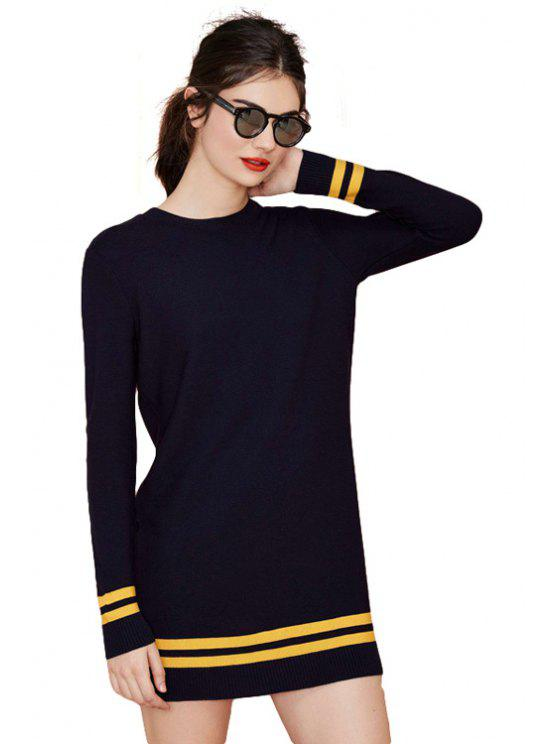 womens Yellow Stripe Long Sleeve Dress - NAVY BLUE XS