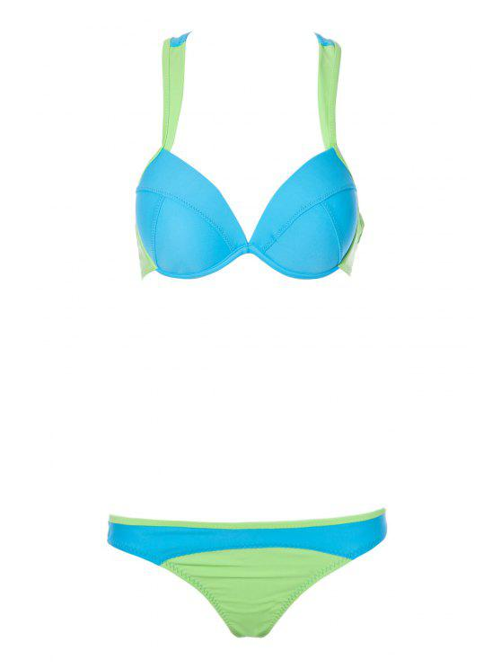 lady Color Block Splicing Straps Bikini Set - BLUE M