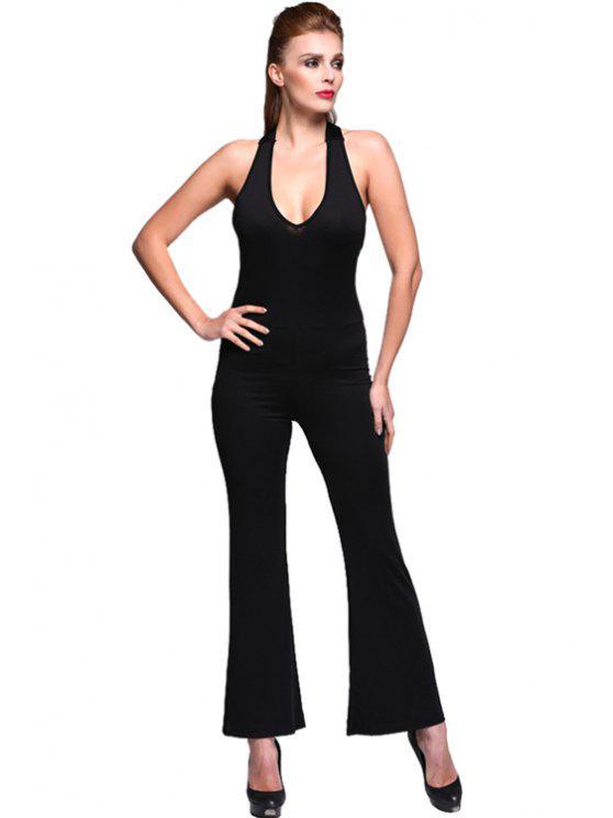 ladies Black Halter Straight Leg Jumpsuits - BLACK S