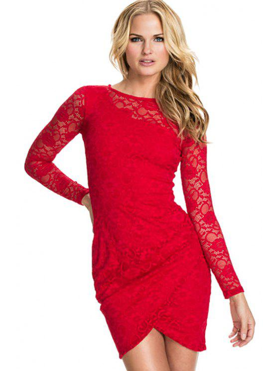 latest Ruffle Lace Solid Color Long Sleeve Dress - RED XL