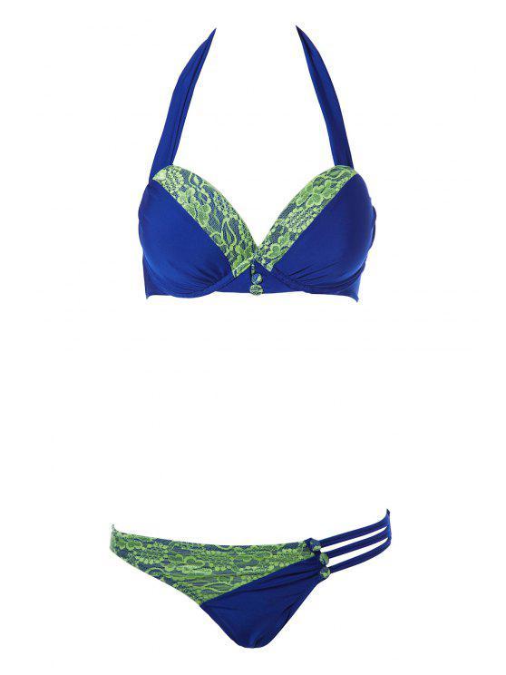 Halte encaje Empalme Bikini Set - Azul Zafiro S