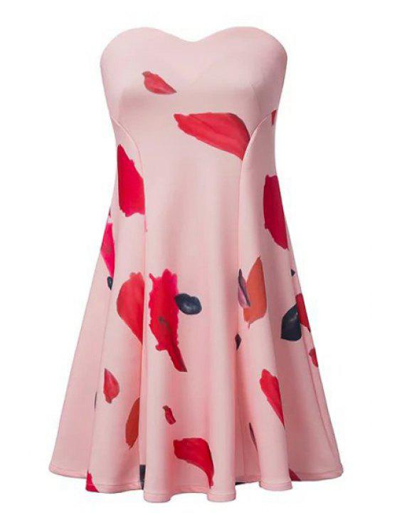 latest Lip Print Strapless A-Line Dress - PINK S