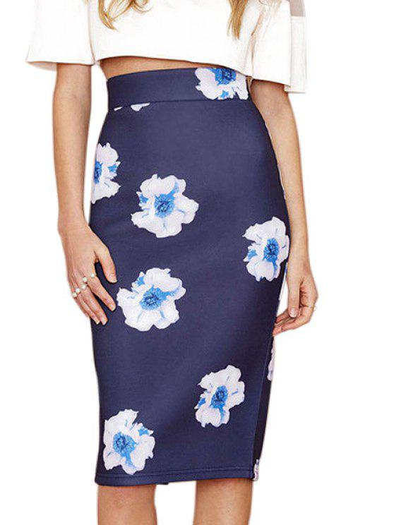 outfits White Floral Print Back Slit Skirt - NAVY BLUE XL