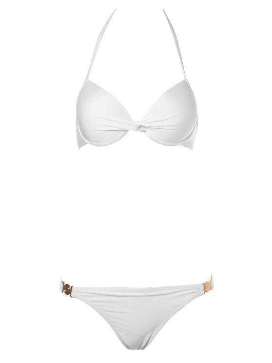 buy Push-Up Solid Color Bikini Set - WHITE S