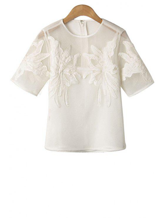 unique Hollow Embroidery Blouse and Tank Top Twinset - WHITE S