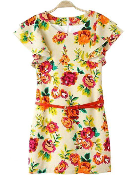 unique Floral Print with Belt Dress - YELLOW S