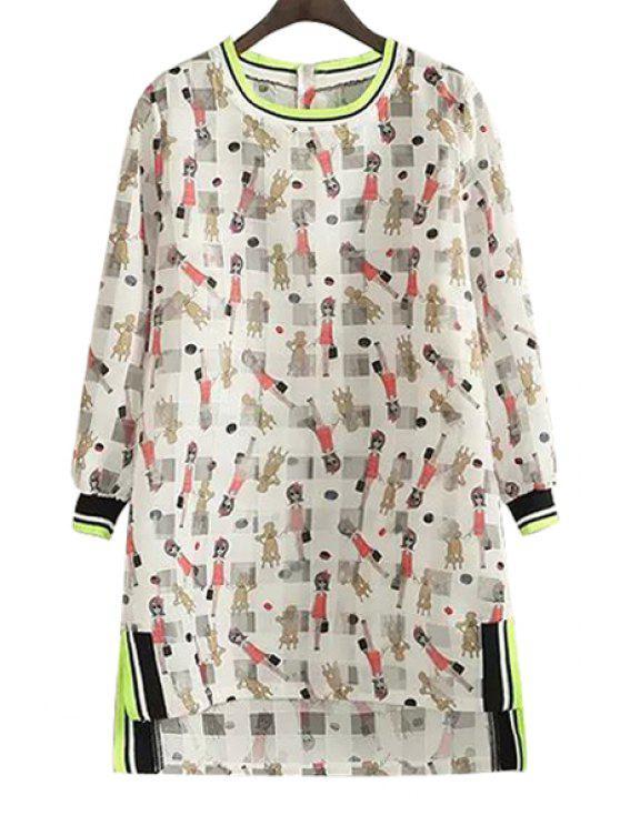 hot Figure Print Checked Long Sleeve Dress - KHAKI M