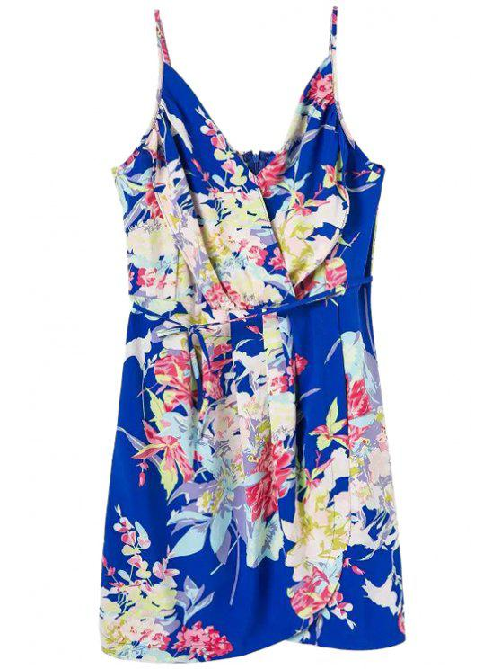 lady Floral Spaghetti Straps Lace-Up Dress - BLUE M