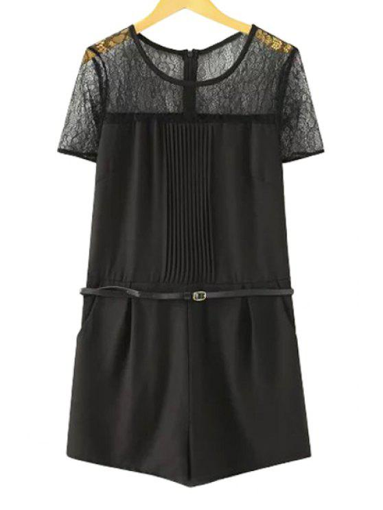 outfits Lace Spliced Short Sleeve Romper - BLACK L
