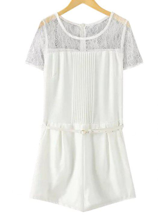 sale Lace Spliced Short Sleeve Romper - WHITE S