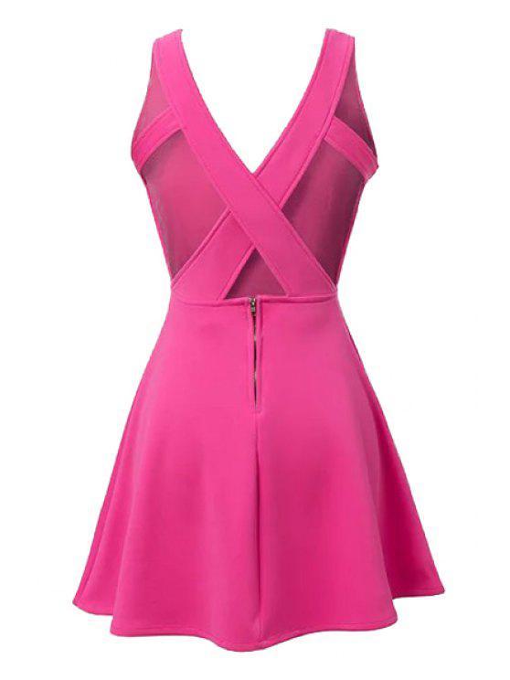 hot Plum Plunging Neck Sleeveless Dress - PLUM L