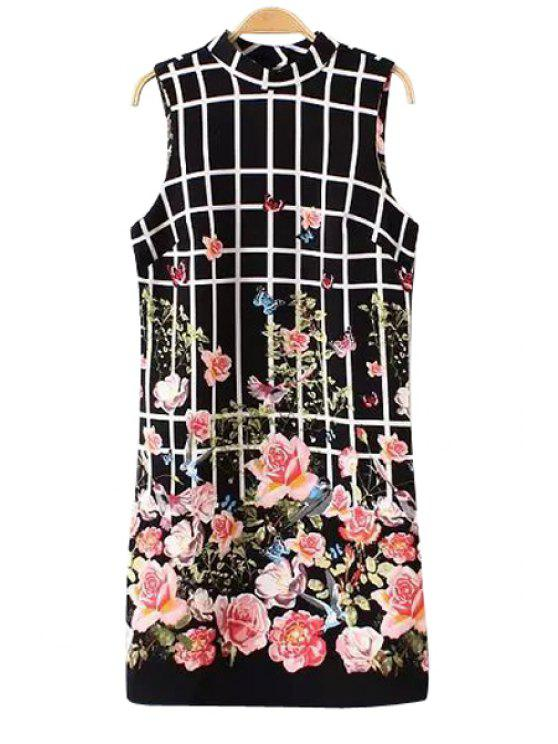 shops Floral Sleeveless Checked Dress - BLACK S
