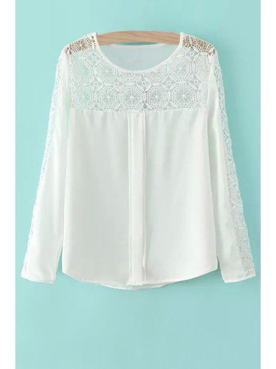 women's Lace and Chiffon Spliced Blouse - WHITE S