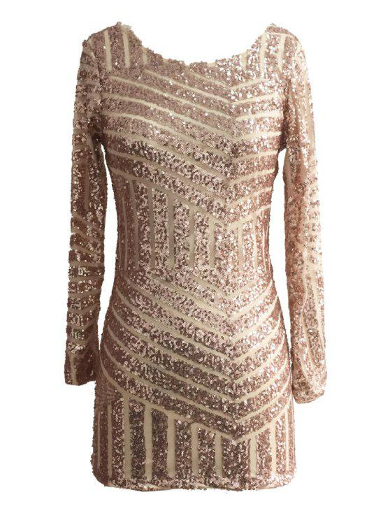 sale Sequins Backless Long Sleeve Dress - GOLDEN S