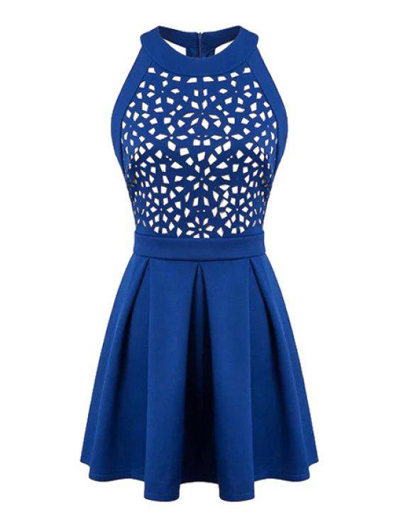 shop Hollow Out Sleeveless A-Line Dress - BLUE S