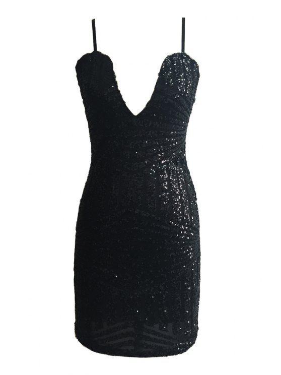 unique Spaghetti Strap Sequin Sleeveless Dress - BLACK L