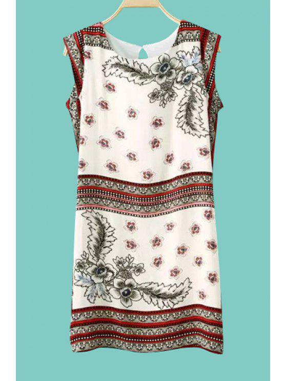 sale Retro Floral Print Sleeveless Dress - WHITE M
