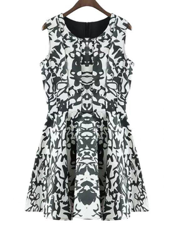 new Abstract Print Jewel Neck Sundress - GREEN L