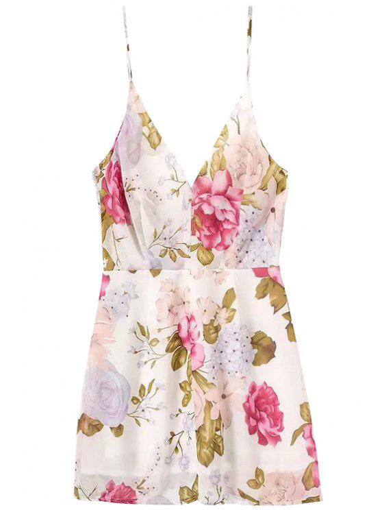 outfit Floral Backless Spaghetti Straps Dress - ROSE S