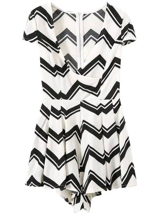 shop Wavy Striped Short Sleeve Romper - WHITE S
