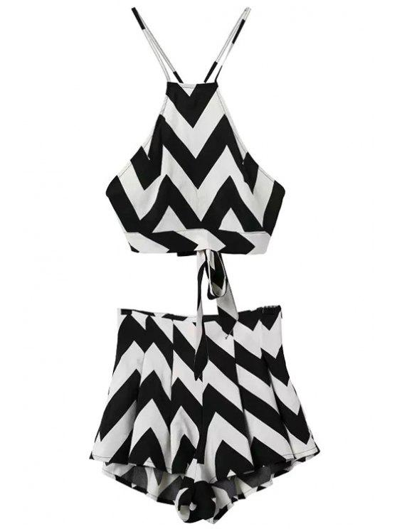 outfit Stripe Tie-Up Tank Top + Color Block Shorts - WHITE S