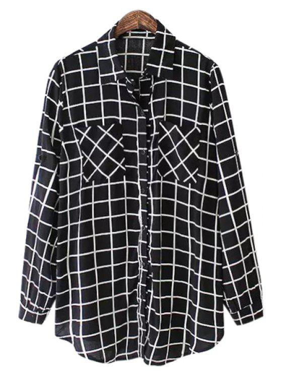 womens Black Plaid Long Sleeve Shirt - BLACK ONE SIZE(FIT SIZE XS TO M)