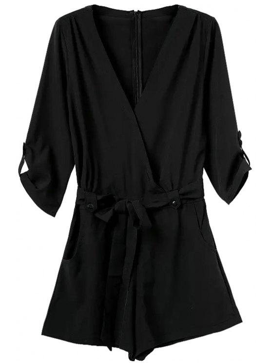 lady V-Neck Solid Color Tie-Up Romper - BLACK S