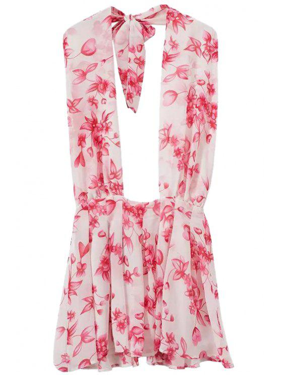 sale Floral Halter Backless Dress - PINK M
