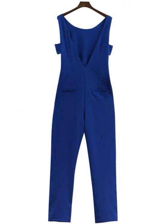 unique Blue Off-The-Shoulder Jumpsuits - BLUE S