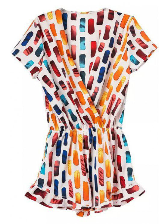 trendy V-Neck Colorful Print Romper - COLORMIX L