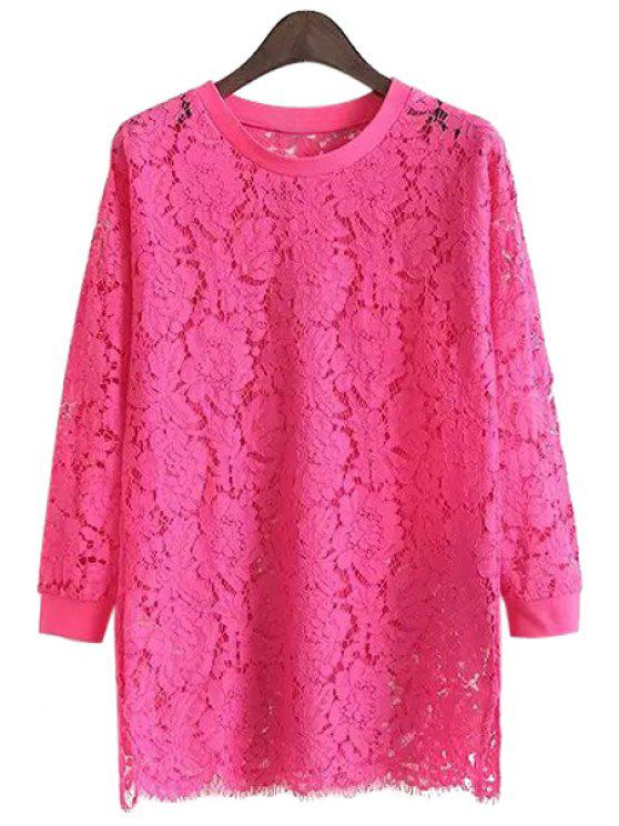 trendy Solid Color Lace Long Sleeve Blouse - PLUM S