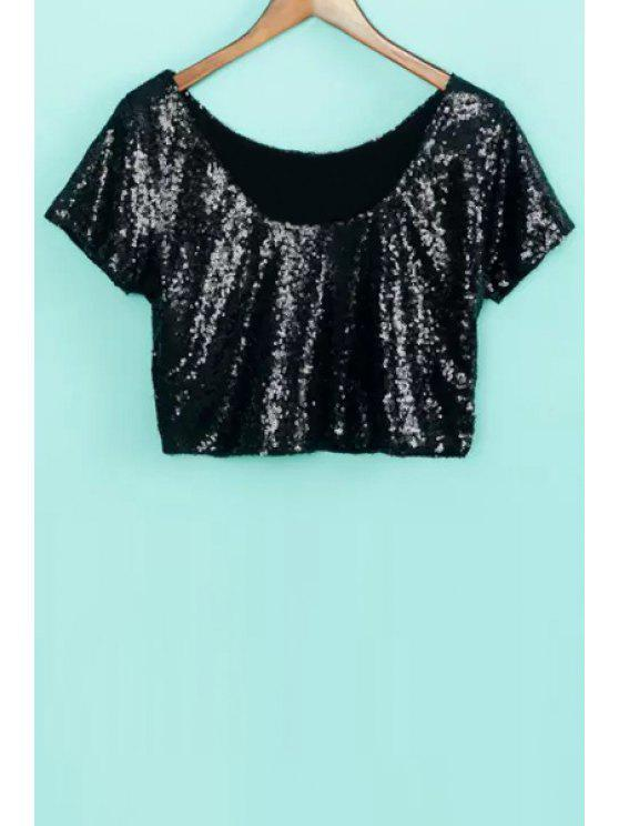 affordable Sequins Short Sleeve Crop Top - BLACK S