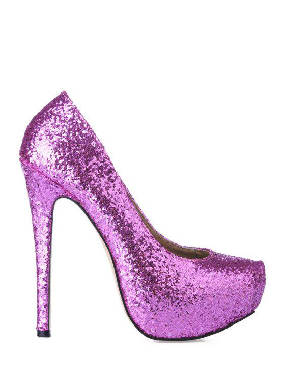 hot Stiletto Heel Sequined Bling Bling Pumps - LIGHT PURPLE 35