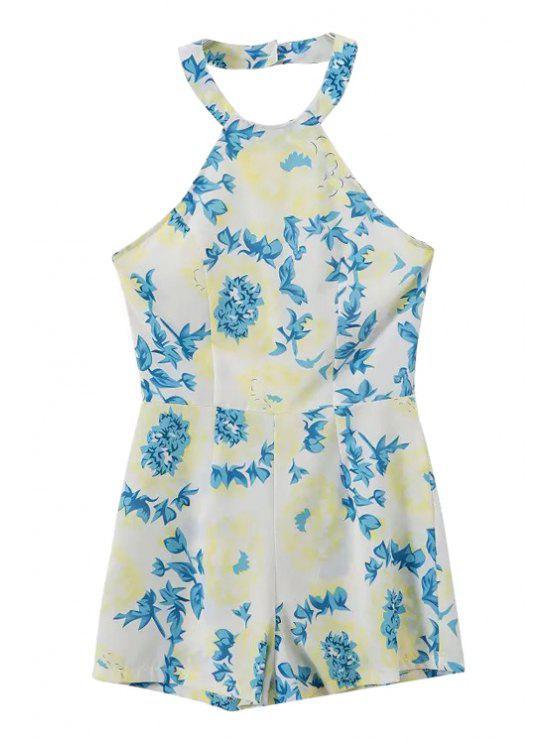 women's Floral Print Halter Romper - GREEN XL