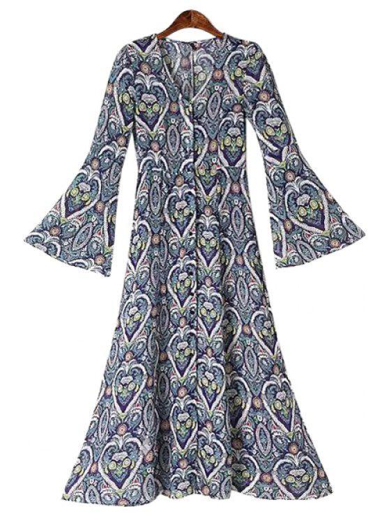 ladies Heart Floral Print Bell Sleeve Dress - PURPLISH BLUE S