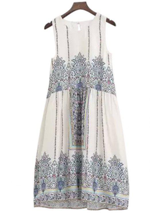 women's Tiny Floral Print Ruffle Sleeveless Dress - BLUE AND WHITE S