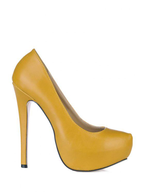chic Solid Color Sexy High Heel Pumps - YELLOW 38