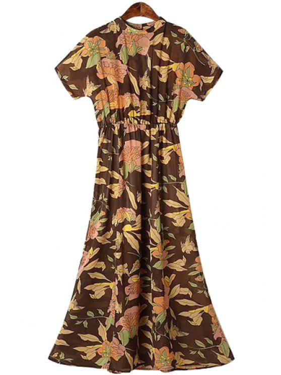online Round Neck Floral Print Ruffle Dress - COLORMIX S