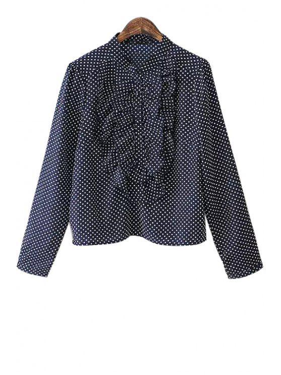 women Polka Dot Ruffles Long Sleeve Shirt - CADETBLUE S