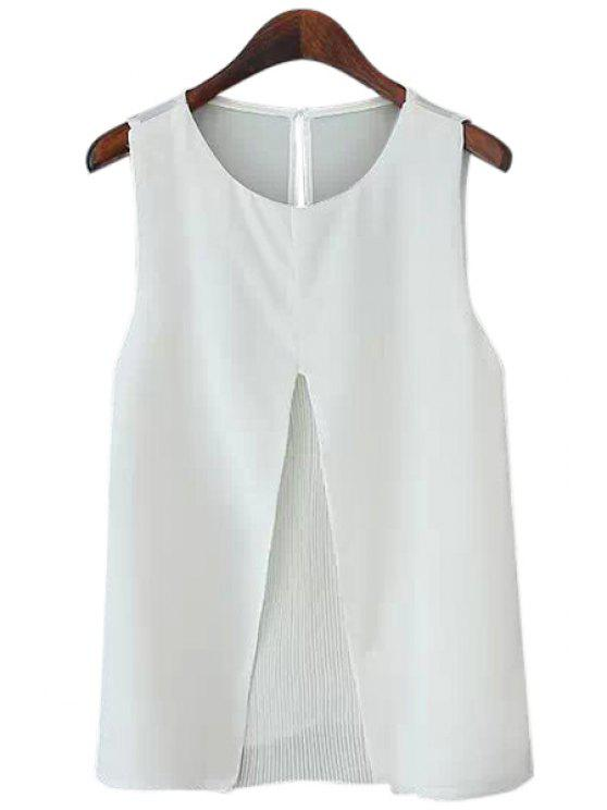 affordable Pleated Spliced Chiffon Tank Top - WHITE M