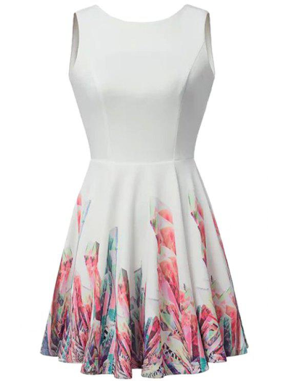 chic Backless Print Sleeveless Dress - WHITE S