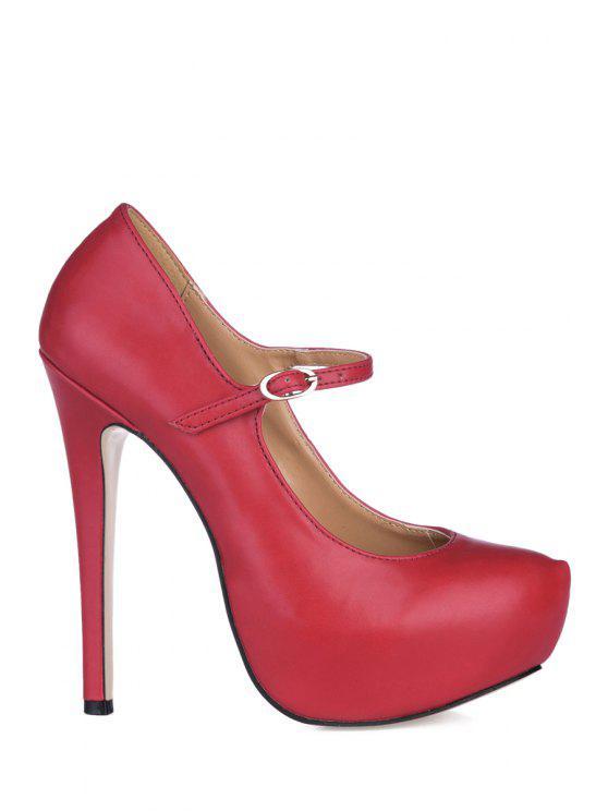 affordable Stiletto Heel Solid Color Platform Pumps - WINE RED 35