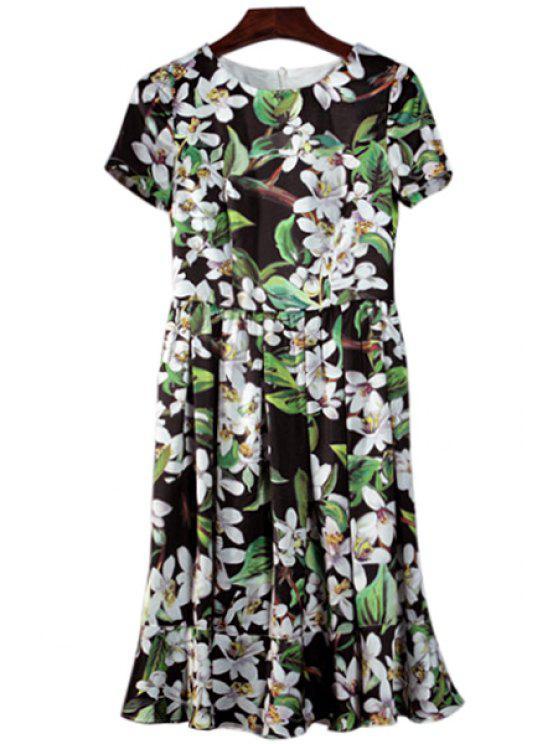 women White Floral Print Short Sleeve Dress - GREEN S