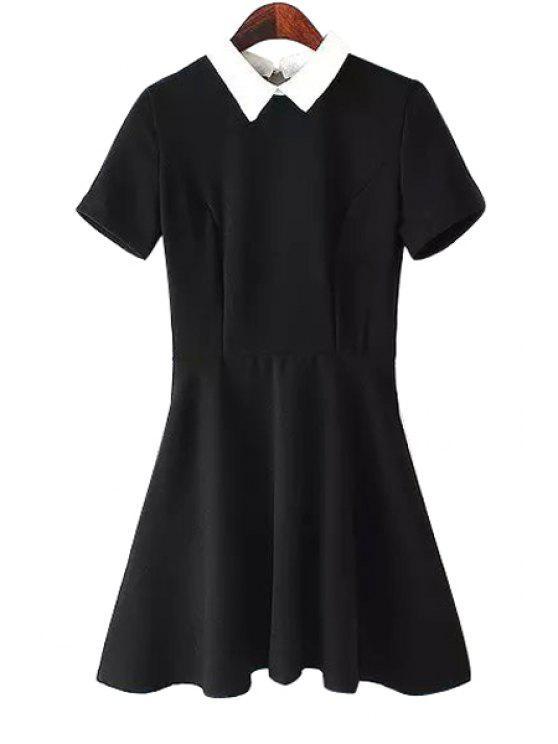 hot Black Short Sleeve A-Line Dress - BLACK S